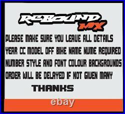 Rebound Graphics PART Kit to fit Suzuki RM RMZ 85 125 250 450 models all years